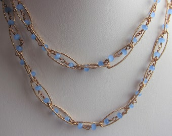 Periwinkle Blue Chalcedony Rose Gold Plated Long Necklace