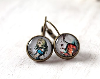 Alice in Wonderland and White Rabbit  earrings sweet lolita feminine leverback