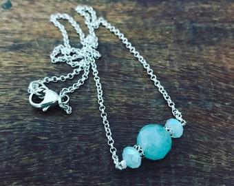 March Birthstone-Aquamarine Gemstone -Sterling Silver Necklace