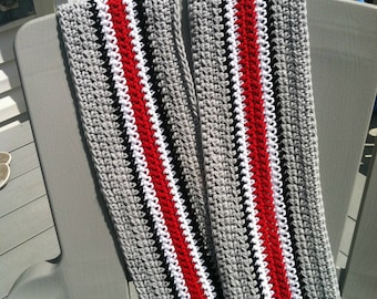 OSU helmet scarf Ohio State BUCKEYES neck warmer wrap Go Bucks scarlet gray black white football attire very attractive handmade Columbus OH