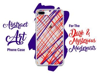 Purple Orange Lines Unique Abstract Art Clear iPhone Design Case - iPhone X / 8 / 8 Plus / 7 / 7 Plus