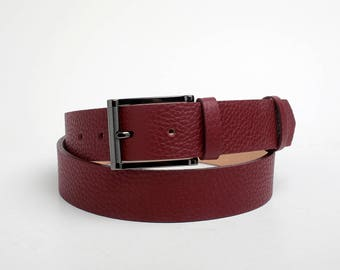 Leather Belt, Burgundy Leather Belt, Mens Belt