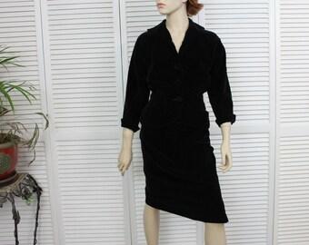 Vintage 1950s Black Velvet Suit by Tabak of California