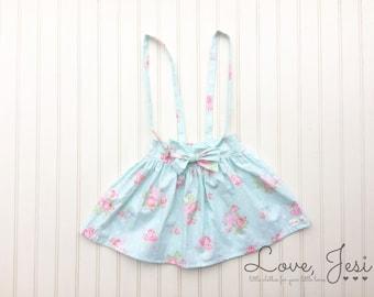 Toddler Girls Skirt, Baby Girl Skirt, Girls Suspender Skirts, Little Girls Skirts, Girls Skirt with Straps, Baby Girls Suspender Skirts