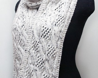 Knitted white scarf, knitted long scarf, women's scarf, woman cable scarf, knitted aran wrap, aran scarf, winter scarf, tweed scarf