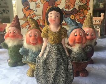 Walt Disney Productions Snow White and The Seven Dearfs Paper Mache Candy Containers Christmas Ornaments  IN ORIGINAL Box 1938 Complete Set