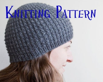 PDF Knitting Pattern - Concentric Beanie, Hat Knitting Pattern, Knit Hat Instructions, DIY Knit Beanie
