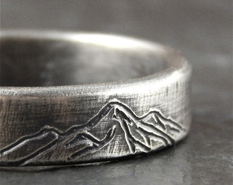Mountain ring, *6 mm wide* wedding band mountain range, sterling silver, for nature lover!