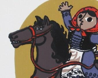 Her Horse Hans    A woodcut/serigraph  by Barbara Fernekes Hughes
