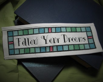 Cross Stitch Pattern - Follow Your Dreams - Bookmark (Downloadable PDF)