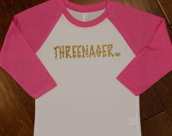 Three Birthday Shirt, Threenager Shirt, 3rd Birthday Shirt, Gold Birthday Shirt, Third Birthday, 3rd Birthday, Birthday Shirts, 3 bday