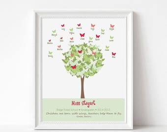 Custom Teacher Gift Print with Student Names - Butterfly Tree Wall Art - Personalize with Name, School, Grade
