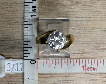 Vintage 925 Sterling Silver 4g Gold Washed Cz Ring Size 6 Used