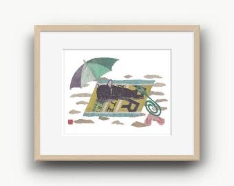 French Bulldog Art, Black French Bulldog, French Bulldog Gift, Frenchie, Modern Dog Print