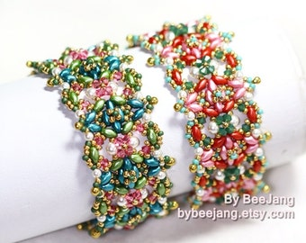 PDF Tutorial - Sophie Bracelet Beading Pattern Instant download Beadweaving Instruction