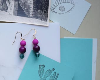 Pearl Earrings Pink Purple and turquoise
