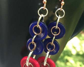 Button earrings, circle, infinity, dangle, red and blue, earrings, 4th of July earrings, urban earrings, team earrings, game day earrings