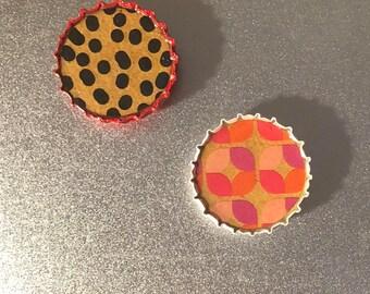 Beautiful Abstract Black Polka Dot Cheetah and Pink Petal kraft Bottle Cap Magnets