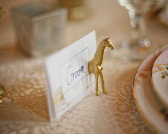 gold animal place card holders // set of 25