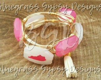 Pink Kentucky Wire Wrapped Bracelet, Bangle,   Pink, Bourbon and Boweties Inspired