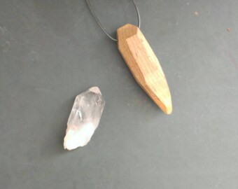 amulet | maple wood crystal pendant  | mineral jewelry necklace in native maple