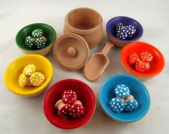 Montessori Color Sorting Mushrooms and Bowls - Montessori Colour Learning