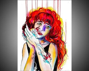 Miriam watercolor painting, Newt painting, Newt  art, Newt  wall art, Woman art, Woman painting, Woman gift, Bizarre, Weird