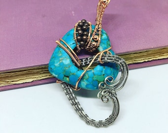 Turquoise Double Heart Donut Pendant, Wire Wrapped, Woven Wire, Turquoise,  Beaded, Copper Titanium
