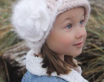 Crochet Hat Pattern: Crochet Cloche, Crochet Flower Pattern, Newborn - Women, 'Vintage Twist Blossom'