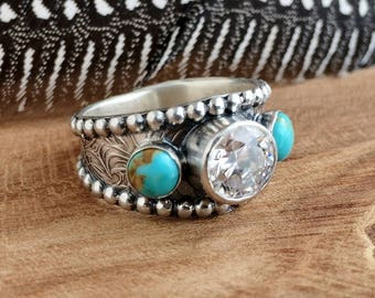 Turquoise Ring with CZ - Sterling silver - Western Wedding Ring - Unisex - Turquoise Engagement ring