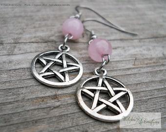 Pentacle earrings, stainless Steel hooks - Tibetan Silver - Pink Quartz gemstone - Love - Wicca, pagan gift