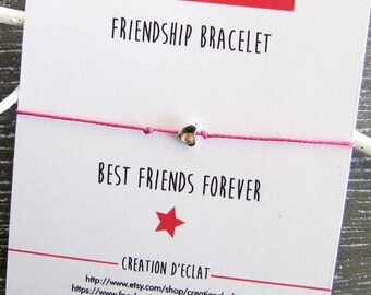 Friendship Bracelet / friendship, heart charm / BFF / Best friends forever
