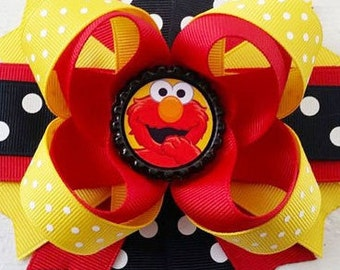 "Elmo Handmade Boutique Layered Hair Bow 5"" Sesame Street Elmo Girls Hair Bow NEW Birthday Bow Party Bow Gift Bow"