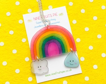 Kawaii April showers large necklace in bright - rainbow, cloud and raindrop