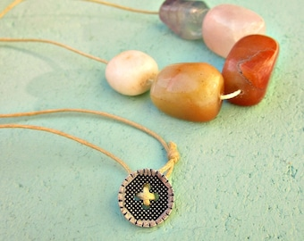 Pastel Polished Stones on Tan Cotton Cord Necklace with Button Clasp: Leah