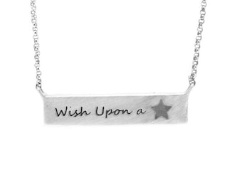 Wish Upon A Star Pendant Necklace With Meteorite Star, Sterling Silver Bar Pendant With Rolo Chain For Women, Meteorite Jewelry
