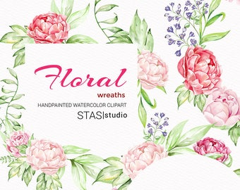 Peonies Watercolor floral Frames Greeting card Clipart Floral Wedding Wreaths Invitation Nursery Print Boho Flowers Planner Frames Stickers