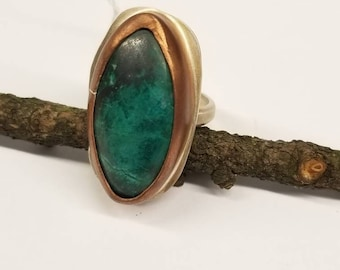 Large Azurite/Chrysocolla Mix with Copper and Sterling Silver. Ring Size 8. Ready to Ship