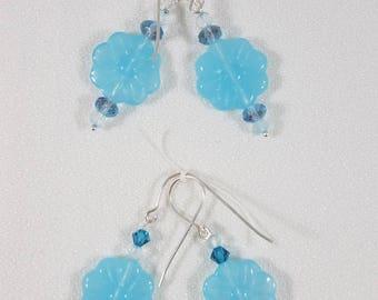 Blue Glass Flower  Bead Earrings
