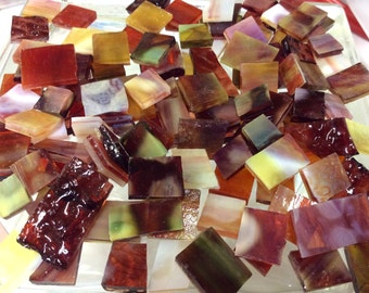 50 SPECIAL MOTTLE & RIPPLE Mix Odd Size Stained Glass Mosaic Tile B43