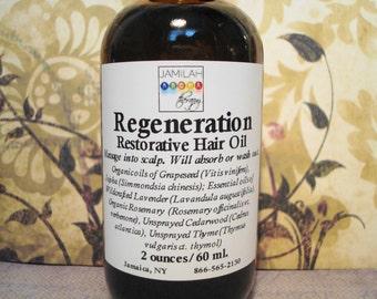 BEST SELLER - Regeneration Restorative Hair Oil | Hair Care | Reduce Hair Loss | Hair Growth | 100% Organic | Scalp | Keep Hair, 2oz./60ml.