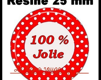 Round cabochon glue resin 25 mm - 100% nice - (554) text, Word