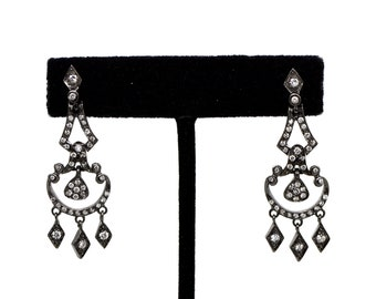 Blackened Sterling Silver Diamond Dangle Drop Earrings - 45 mm Drop - 1.00 ct tw