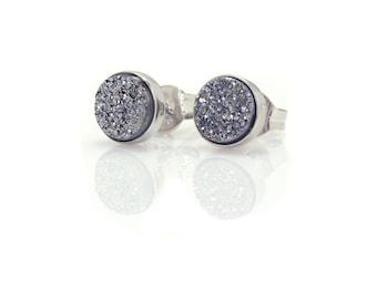 Silver Drusy Quartz Stud Earrings - Sterling Silver - 6mm Round - Titanium Silver Drusy Quartz - Sterling Silver Bezel Set Studs