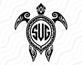 Aztec Turtle SVG, Turtle Silhouette, Turtle Monogram SVG Cut table Design,svg,dxf,png Use With Silhouette Studio & Cricut_Instant Download