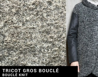 "Thick fabric ""Bouclé knit"" [5 meters minimum] - grey, black and white - acrylic, wool and polyester - sewing"