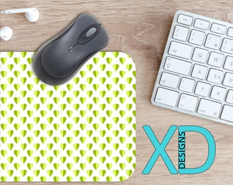 Lime Heart Mouse Pad, Lime Heart Mousepad, Two Tone Rectangle Mouse Pad, Green, Two Tone Circle Mouse Pad, Lime Heart Mat, Computer, Love