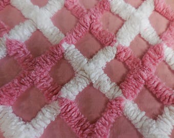 """PINK with Overtufted Pink and White DIAMOND Designs Vintage Chenille Bedspread Fabric - 17+"""" X 24"""" - #4"""