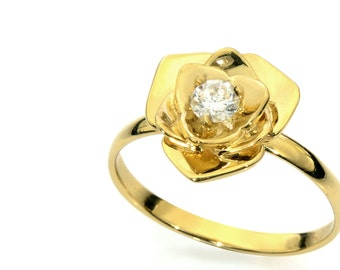 Flower and diamond engagment ring - Engagement Ring, 14k gold and diamond Solitaire ring, gold and diamond ring.