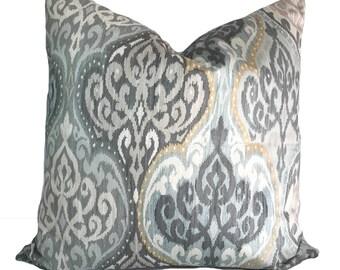 Gray pillow cover, Blue pillow, Gray throw pillow, Decorative pillow, Accent pillow, Damask pillow, 16x16, 18x18, 20x20, 22x22, 24x24, 26x26